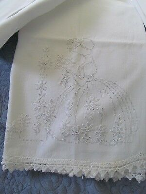 VTG White Pair Pillowcase Crochet Trim Southern Belle Forget Me Not embroidered
