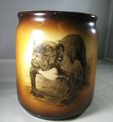 Rodney Stone Champion Bull Dog Antique Cigar Jar Warwick China c1910 Ceramic USA