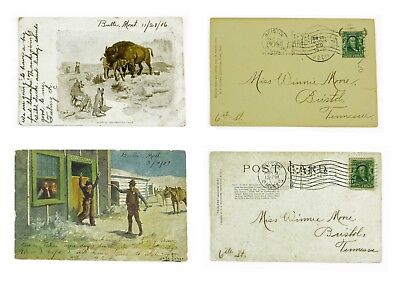 Charles Russell the Western Painter post cards from his studio in Butte Montana