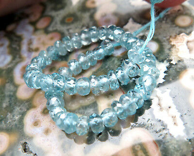 """AAAA+ CAMBODIA BLUE GEM ZIRCON 3.3-4mm FACETED BEADS 4.65"""" 22.10cts BEAUTIFUL"""