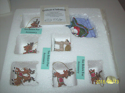 Hawthorne Village 7- SANTA SLEIGH ORNAMENTS~  Rudolph Christmas Tree Collection