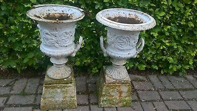 Pair of Original Victorian Antique Cast Iron Garden Urns on bases. 69cm tall