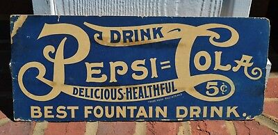 Early Pepsi:Cola Cardboard Double Dot Sign
