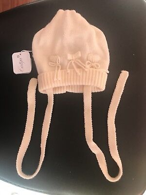 Brand new off white Catya hat for girls with ties size VI Made is Italy