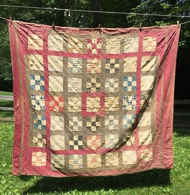 "Vintage 81"" x 72"" Hand Made Quilt~2 Sided Design~Square Block Design~90yr old~PA"