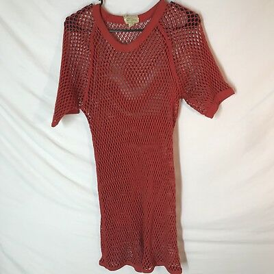 Vintage 40s Unisex LL Bean Netted Top Orange Fishnet L