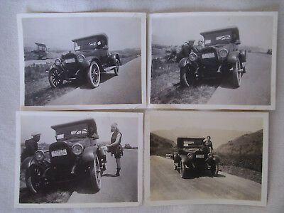 4 X old photograph of the same 1922 car..one pic with old bi-plane in background