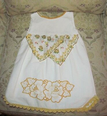 Vintage Baby Dress 6 Months Pillow Case Dress White & Yellow