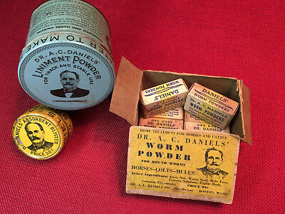 3 lot Dr. Daniels Veterinary Worm Powder Box Medical Cow Advertising & Tins Rare