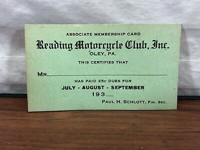 Vintage 1930's RMC Reading Motocycle Club Unused Green Membership Card Oley, PA.