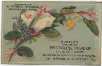 Hunter's Invisible Face Powder Human Hair Store Adv Victorian Trade Card  c1880s