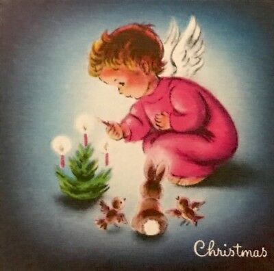 Candlelight Pink Angel Baby Xmas Tree Birds Bunny Vtg XMAS Card NORCROSS Unused