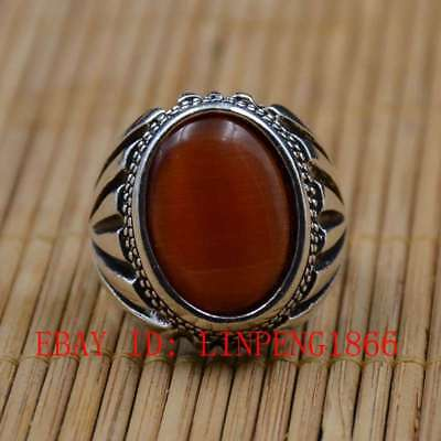 Tibetan Silver Hand-carved Inlaid Cat's-eye Rings L12