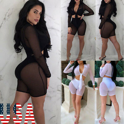 US STOCK Women Beach Mesh Sheer Bikini Cover Up Swimwear Bathing Pant Top Set
