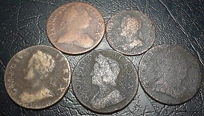 Old Farthing Coins 1730, 1743, 1775 America Revolutionary War Era Colonial Coins