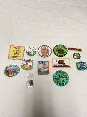 Lot of Girl Scout  12 Patches Badges  & 1 Golden Gate Bridge Pin