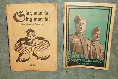 "WWII German soldiers song books ""Soldaten Liederbuch & Ging man to"" Originals"