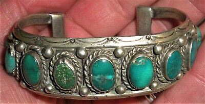 ANTIQUE c. 1930 NAVAJO COIN SILVER 9 GREEN TURQUOISE BRACELET CARINATED vafo