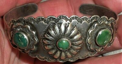 ANTIQUE c1930 NAVAJO COIN SILVER TURQUOISE BRACELET ORGNAL TRADE POST PRICE vafo