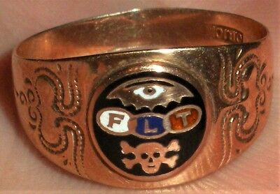 ANTIQUE c. 1880 10K GOLD MASONIC ORDER ODD FELLOWS SKULL CROSSBONES  RING vafo