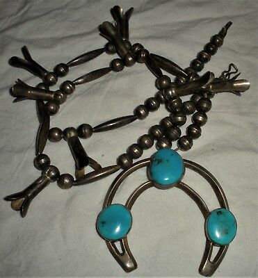 ANTIQUE c1930-40s NAVAJO SQUASH BLOSSOM STERLING SILVER TURQUOISE NECKLACE vafo
