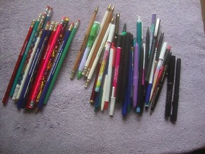 Large lot of (mostly) advertising pens, pencils: Wells Fargo, Home Health, + +