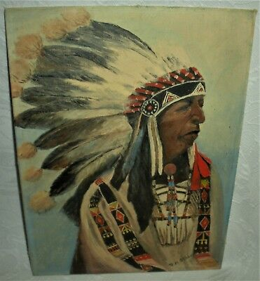 VINTAGE 1952 DATED PAINTING OF NATIVE AMERICAN INDIAN CHIEF IN HEADDRESS vafo