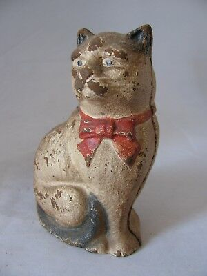 Vintage Litte 4 1/4 Inch Cast Iron Red Ribbon Kitty Cat Bank
