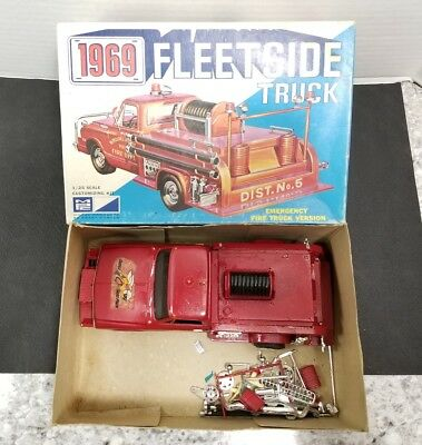 MPC 1969 Fleetside Pickup Fire Truck 1/25 Mostly Built Model Kit with Box