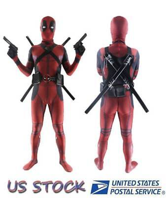 X-men Adults Deadpool Full Body Tights Suit Bodysuit Mask Party Cosplay Costume