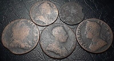 Rare American Revolutionary War Copper Coins Dated 1745, 1774, 1776 No Reserve