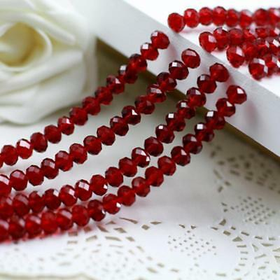 6x4 mm, Dark red nature Faceted  Loose crystal Beads ,98 pcs, Christmas gifts