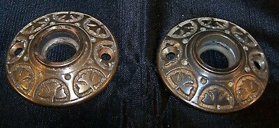 2 Matched Vintage Victorian East Lake Bronze Rosettes Escutcheon Door Hardware