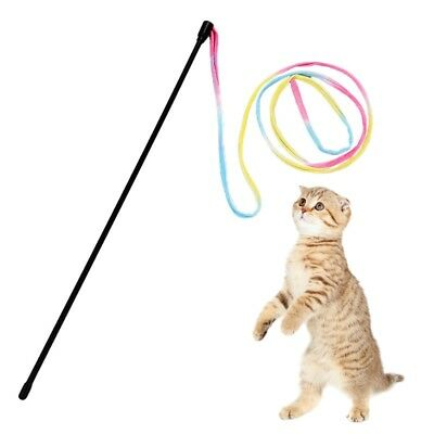 Funny Colorful Rod Wand Plastic Teaser Pet Toys Cats Interactive Stick Supplies