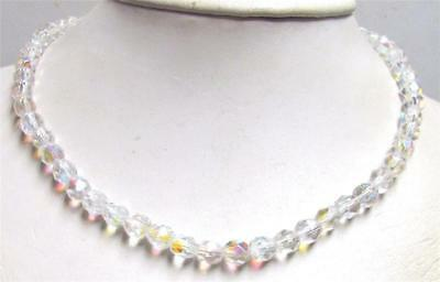 "Vintage 50's Long 19"" Glass AB Crystal Bead Necklace Clear"