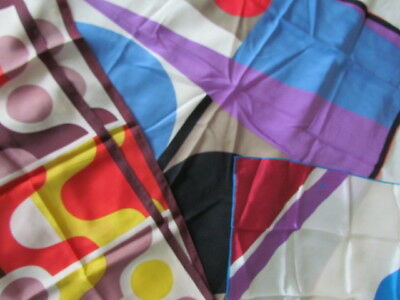 Silk Scarf Lot Geometric Abstract Alfred Nipon Anne Klein Blue Purple Red Yellow
