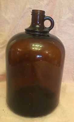 Large Amber Brown Bottle Jar Glass Apothecary XL finger Handle 11 in hi Vintage
