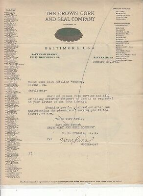 The Crown Cork And Seal Co. Baltimore, U.s.a. Letterhead  Dated  Jan. 27, 1921