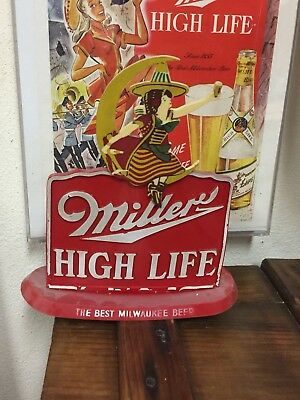 1930s 1940s Miller Beer Sign Back Bar Sign Rare Old Vintage Girl In Moon