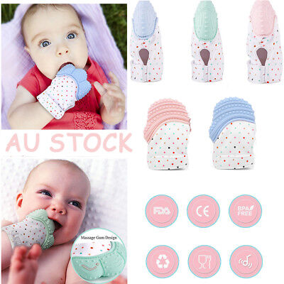 Silicone Baby Mitten Teething Glove Candy-Wrapper-Soft-Teether BPA Free Toy bb
