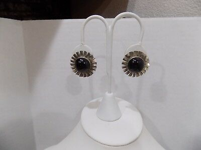 Vintage Native Navajo Style Sterling Silver Mexican Taxco Onyx Windmill Earrings