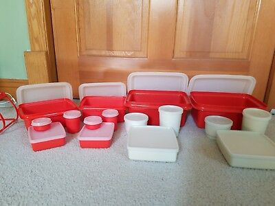 Vintage TUPPERWARE 16 Pc Red w/ Lids PAK N CARRY Lunch Box Kit #1254 and #1513