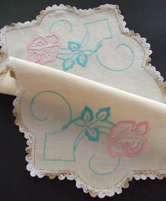 Hand Embroidered Slub Linen Table Centre - Pink Roses - Hand Crocheted Edging