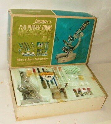 % 1960's Jason 750 Power Zoom Microscope Set In Original Box Complete