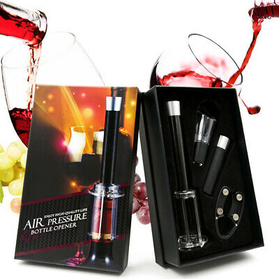 4 in 1 Wine Bottle Opener Cork Remover Air Pump Pressure Cutter Vacuum Stopper