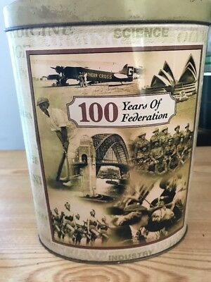 Biscuit tin 100 Years of Federation of Australia tin Nostalgia Collectable
