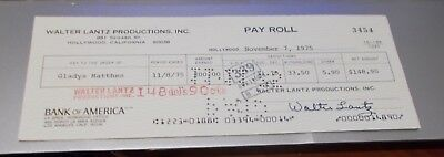 Walter Lantz Hand Signed Pay Roll Check...Woody Woodpecker Creator