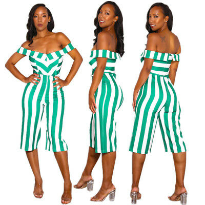 Women Short Sleeves Off Shoulder Causal Club Party Loose Striped Jumpsuit Romper