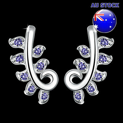 Wholesale 925 Sterling Silver Filled Blue Cubic Zirconia Crystal Leaf Stud Earri
