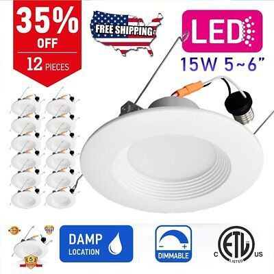 12pcs 5~6 Inch Dimmable LED Recessed Ceiling Down Light 15W Downlight Lamp US SW
